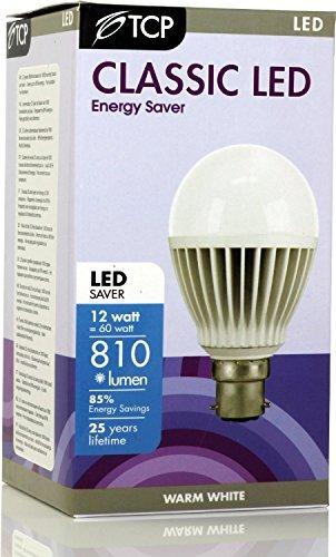 TCP Lot de 6 ampoules LED B22/BC à baïonnette GLS ultra lumineuses 810 lumens Blanc chaud 2700 K Angle de faisceau 230 pour remplacer les anciennes ampoules globe 60-70 W A60