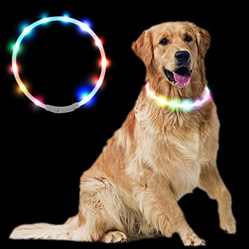 Sazuik 最新型 犬用光る首輪 発光首輪 usb充電式 柔らかい 軽量 調整可能 ペット 犬 猫 LED光る首輪 安全対策 視認性抜群 3つの発光モード 装着簡単 (七彩)