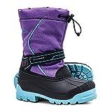 ALEADER Girls Winter Waterproof Boots, Kids Warm Cold Weather Cute Ankle Snow Boots Purple 11 M US Little Kid