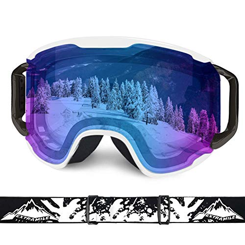 Extra Mile Ski Goggles, Snow Sports Goggles Snowboard Snowmobile Skate Motorcycle Riding, UV400 OTG Over Compatible Glasses, for Men Women Youth Unisex