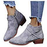 Ankle Boots for Women Low Heel, Ankle Booties Retro Stacked Chunky Block Heels Short Boots Warm Side Zipper Western Shoes