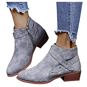 Ankle Boots for Women Low Heel Ankle Booties Retro Stacked Chunky Block Heels Short Boots Warm Side Zipper Western Shoes