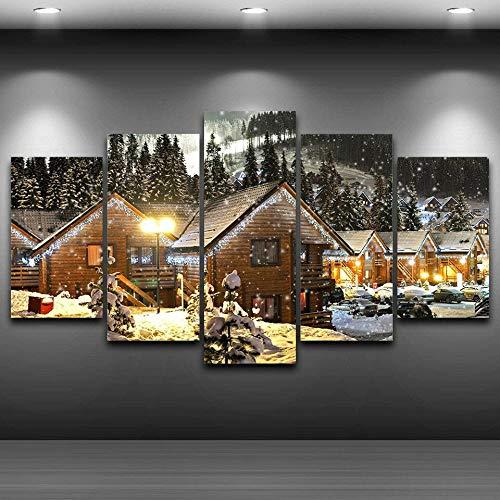 5 Piezas Imprimir Lienzo de Pintura Casas de nieve de la aldea de Navidad de invierno Cuadro decoración Estilo Piasaje Pintura para Arte de Listo para Colgar en un Marco