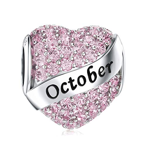 October Birthstone Charms for Pandora Charms Bracelet Sterling Silver Heart Bead Happy Birthday Charms for Bracelets Necklace