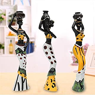 Vintage African Lady Figurine Ethnic Statue Sculpture Resin Crafts Gift Home Ornament Living Room Desktop Decoration Accessories Katoot