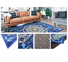 Comercial Candela Alfombra Poliéster Antideslizante Diseño Mandalas Relajante Color (Mandala Azul, 140_x_200 CM)
