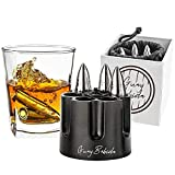 Guay Bebida Stainless Steel Chilling Ice Bullets with Pouch - Reusable Stone Chiller On the Rocks Cold Drinks for Whiskey, Scotch, Bourbon, Soda, Beer - In Gift Box. - Small Silver