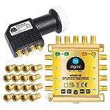 HB-DIGITAL DVB-S / S2 multiswitch 5/8 + Quattro LNB UHD 414 S + 24 F-conector distribuidor multiswitch para 1 SAT 8 participantes Capacidad cuádruple incl.Fuente de alimentación MS58Q-HB 4K UHD
