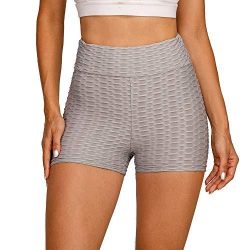 Voqeen Pantalones Cortos Deportivos De Cintura Alta para Mujer Pantalones Cortos con Textura De Nido De Abeja Entrenamiento Yoga Correr Gimnasio Pantalones Cortos con Control De Barriga