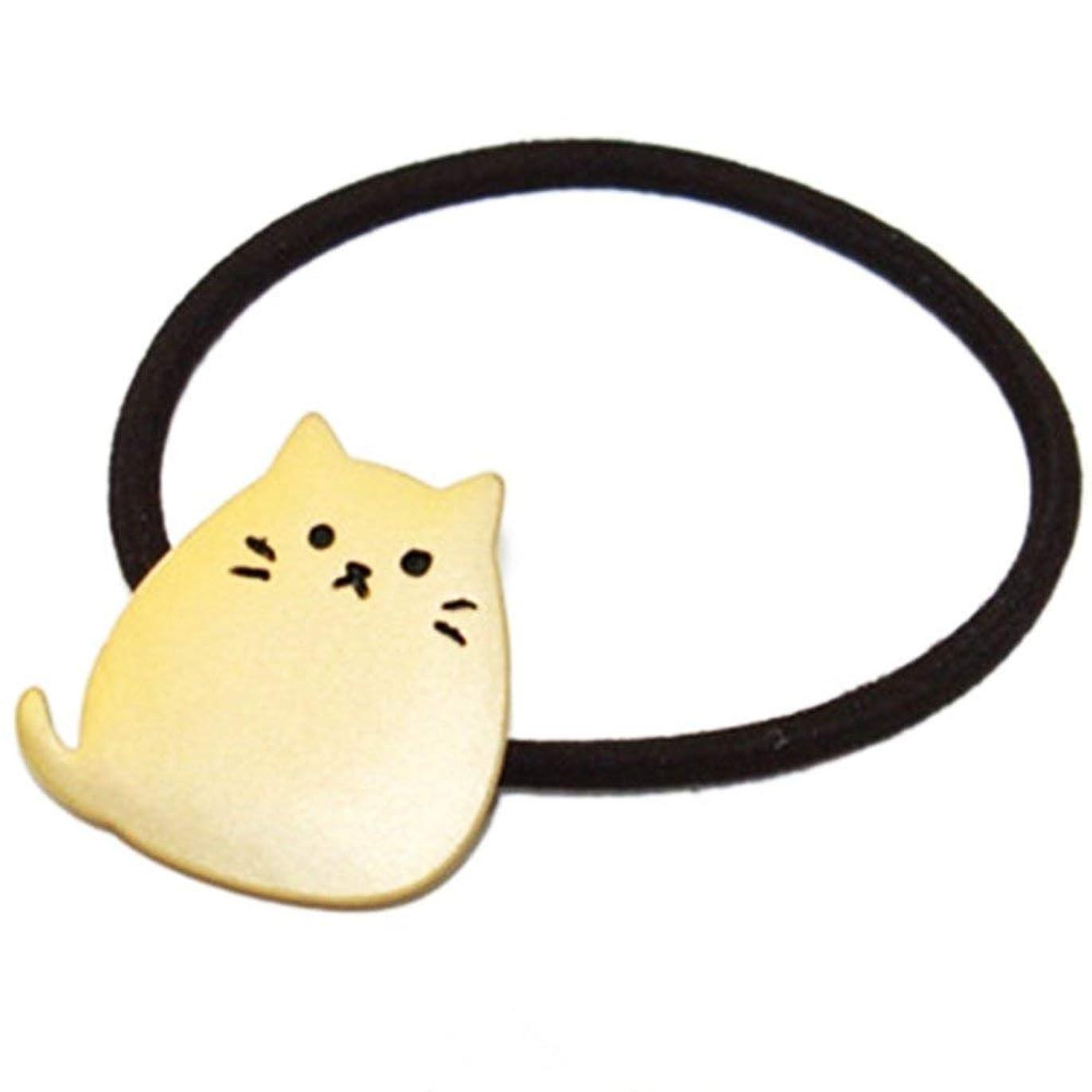 入場料ベリ恩恵Onior ヘアロープ 弾性 リボン 髪飾り ヘアネクタイ 猫形 金属 メッキ 1ピース ゴールデン