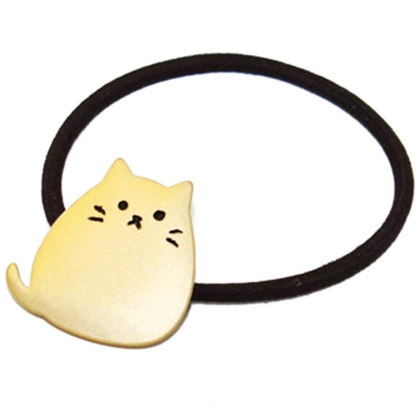 ほのか誰順番Onior ヘアロープ 弾性 リボン 髪飾り ヘアネクタイ 猫形 金属 メッキ 1ピース ゴールデン