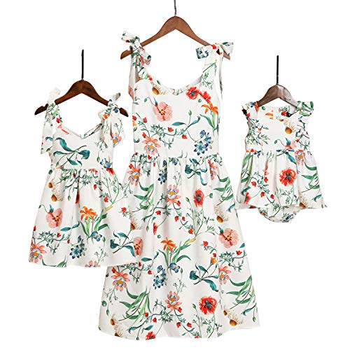 Mumetaz Mommy and Me Dresses Sweet Floral Print Bowknot Halter Shoulder-Straps Chiffon Dress, White, Medium