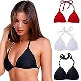 COLO Women Triangle Bikini Top Push up Padded V-Neck Lace-up Basic Swimsuit Top Black White Red, Black(lace Up), X-Large