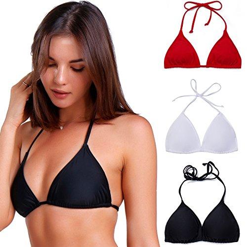 COLO Women Triangle Bikini Top Push up Padded V-Neck, Black(lace Up), Size Small