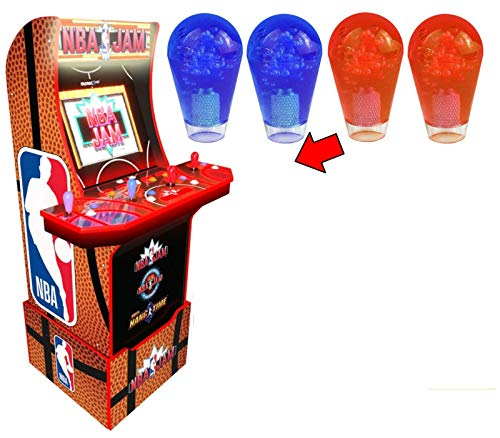 Alvatron Set of 4 Transparent Joystick Bat Tops Translucent Clear Ball Top Handles for Arcade1up NBA JAM Arcade Cabinet Tournament Edition Hang Time TMNT Burger Time Golden Axe Simpsons Mod (Blue/Red)