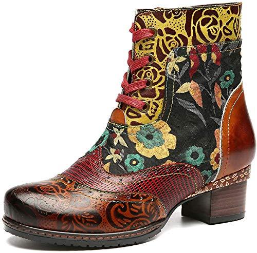 Botas de Cuero Liso,Camfosy Winter City Shoes con Tacones Planos Botas Botas con Cordones y Suela Cómoda para Pies Anchos Diseño Original Bohemian 2018 Marrón Rojo Azul (Ropa)