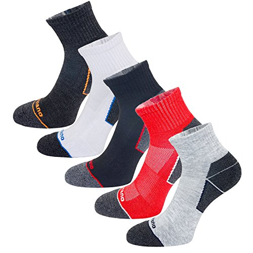 Aaronano 5 Pairs Men Half Cushioned Terry Athletic Running Quarter Socks, 5.5-11 UK/38-46 EU, Quarter Socks(c)