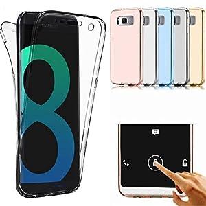 Galaxy S8 Hülle,Ukayfe Crystal Clear Vorne und Hinten Silikon Handyhülle für Samsung Galaxy S8 360 Grad Full Body Cover TPU Silikon Case Transparente Schutzhülle Cover Schale Handy Tasche