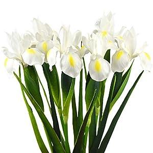 Silk Flower Arrangements FiveSeasonStuff Iris Flower | Flowers Artificial for Decoration | Wedding Bridal Home Kitchen Party Décor | 6 Real Touch Long Stems (23.6'') | Real Looking Flower Arrangements | Marshmallow White