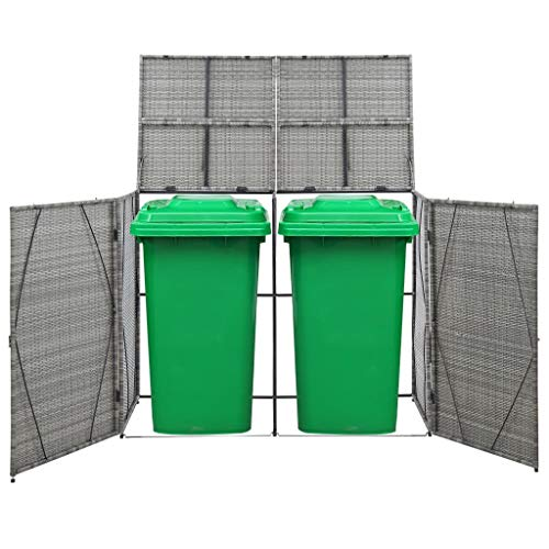 Festnight Double Wheelie Bin Shed, Storage Shed with Lifting Lids Anthracite 153x78x120 cm Poly Rattan