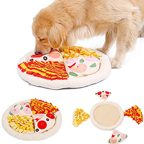 """Schnüffelmatte Für Hunde,Hundespielzeug Fütterungsmatte Schnüffelteppich Schnüffelrasen,Pizza Form Hund Interaktives Puzzle-Spielzeug (20"""" X 20""""),Waschbar Faltbar Rutschfest Für Haustier Hunde Katzen"""