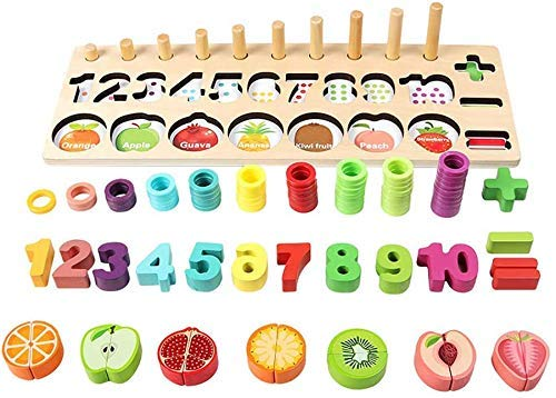 Iwinna Wooden Number Math Shape Puzzles Toys,Magnetic Fruit Cut Blocks 3 In 1Early Educational Toy Best Educational Gifts for Preschool Children