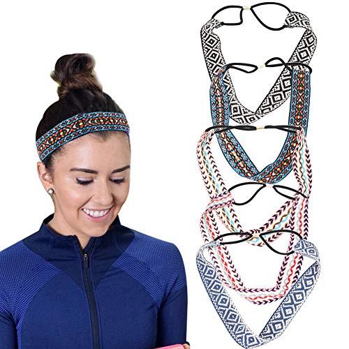 Boho Style Braided Elastic Headbands for Women Girls Vintage Weave Makeup Headband Geometric Rhombus Pattern Hair Bands Yoga Workout Sports Head Wrap Hair Accessories,5 Pcs