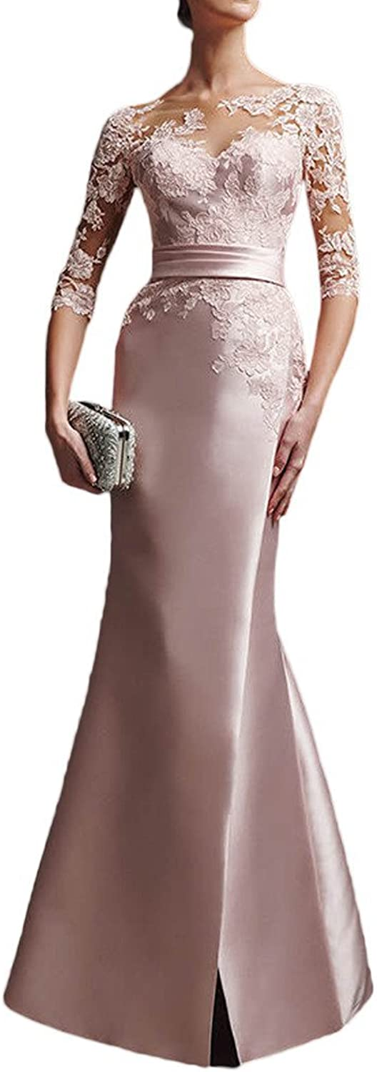Avril Dress Sexy Mermaid Appliques Evening Prom Dress Long Halfsleeve Tulle Slit