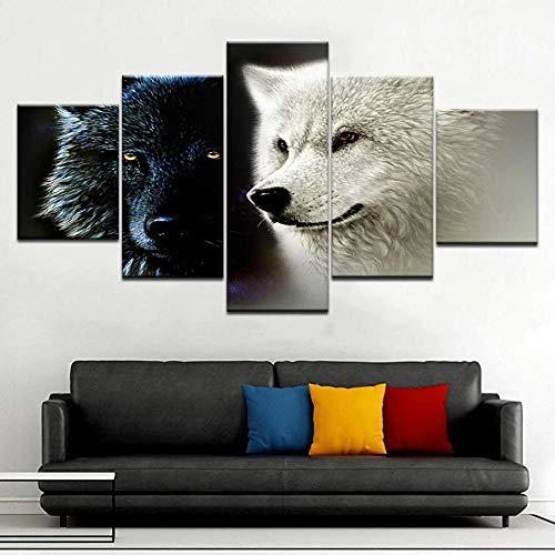 Composición De 5 Cuadros De Madera para Pared Lobo Animal Blanco Y Negro Impresión Artística Imagen Gráfica Decoracion De Pared Abstracto 150 * 80Cm con Marco