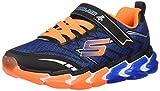 Skechers Kids Boys' Skech-Air 4-Flexo Track Sneaker, Black/Blue/Orange Little Kid