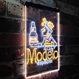 zusme Modelo Especial Adjunct Lager Man Cave Novelty LED Neon Sign White + Yellow W12 x H16