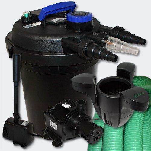WilTec Kit de Filtration à Pression Bassin 6000l Stérilisateur UVC 11W Pompe 25m Tuyau Fontaine Ecumeur 30
