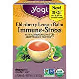 Yogi Tea - Elderberry Lemon Balm Immune and Stress Support (6 Pack) - With Ashwagandha For Adaptogenic Support - Caffeine Free - 96 Organic Herbal Tea Bags