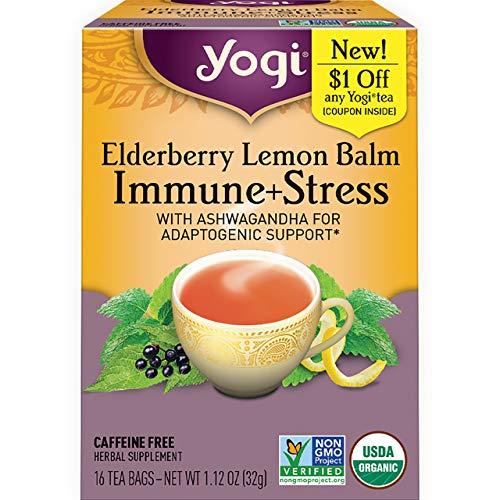Yogi Tea - Elderberry Lemon Balm Immune and Stress Support (4 Pack) - With Ashwagandha for Adaptogenic Support - 64 Tea Bags
