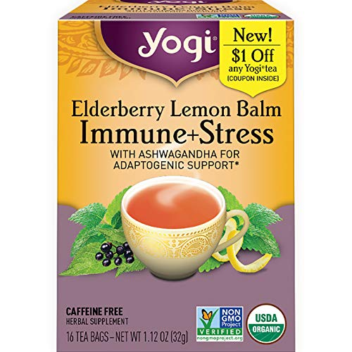 Yogi Tea - Elderberry Lemon Balm Immune and Stress Support (6 Pack) - With Ashwagandha For Adaptogenic Support - 96 Tea Bags