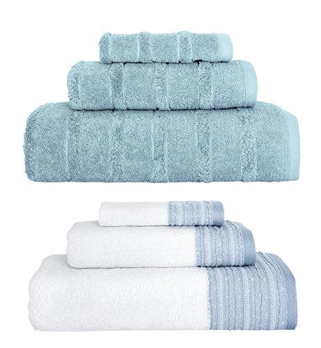 Classic 100% Turkish Cotton 6 Piece Combo Towel Set - Ribbed Carel Collection - Decorative Garen Collection - 600 GSM (Blue)