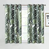 NICETOWN Banana Leaf Short Curtains for Bathroom Windows, Room Darkening Energy Saving Tropical Window Panels for Flat/Apartment, 52 inches Wide by 45 inches Long, Green Palm, 2 Pieces
