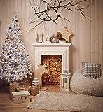 AIIKES 3Mx3M/10x10FT Chimenea del árbol de Navidad de la Foto del paño del Vinilo Fondos de la Decoración del Hogar del Año Nuevo Telones de Fondo Prop para Estudio de la Foto 11-198