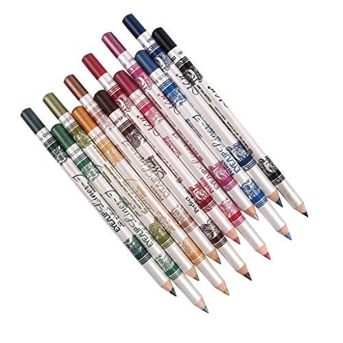 12 Farben Eyeliner Lip Liner Bleistift Augenschatten Eyeshadow Highlight Stifte, Wasserdicht