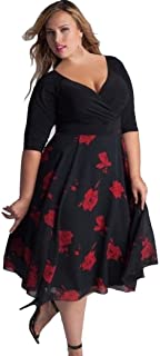 Women Plus Size Floral V Neck Short Sleeve Cocktail Evening Party Swing Midi Dress