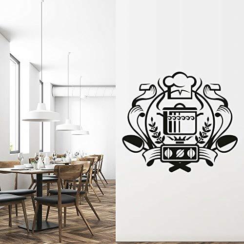Tianpengyuanshuai Chef-badge, muurstickers, pet pan, lepel, creatief, vinyl, ramen, zelfklevend, keuken, restaurant, decoratie