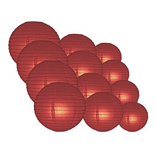 "Quasimoon PaperLanternStore.com Round Paper Lanterns 12pcs Assorted Combo Party Pack - (12/10/8"") Even Ribbing, Marsala/Burgundy Wine -"
