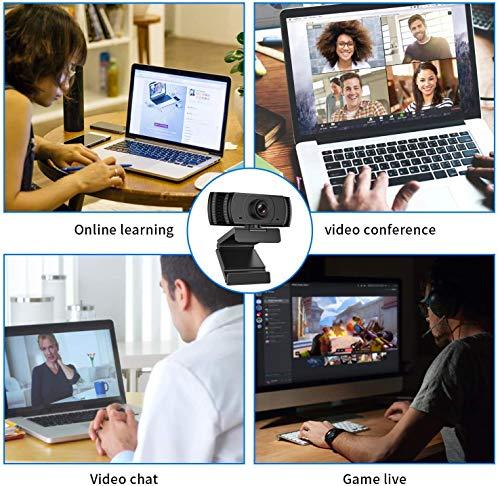 Webcam 1080P mit Mikrofon, 1080P HD Business Webcam für PC, Desktop, Laptop, Computer, Web-Kamera für Videochat und Aufnahme, Konferenz, Manuelle Fokus Webcam kompatibel mit Windows, Mac und Androidz