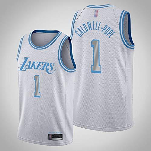 SHR-GCHAO Camiseta De Baloncesto para Hombre, NBA Los Angeles Lakers # 1 Kentavious Caldwell-Pope Jersey # Gimnasio Malla Transpirable Camiseta Sin Mangas Deportiva Sin Mangas,Blanco,L(175~180cm)