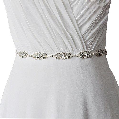 Unbekannt Brautgürtel Taillenband Damen Gürtel Abendkleidgürtel Strass Perlen Weiß Ivory Damengürtel Strassgürtel Satinband Satin Band (Ivory)