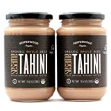 Tahini Integral Orgánico Molido con Piedra, Sin Cáscara, Sin Sal, Sin OGM, Sin Gluten, Kosher, Vegano, Orgánico, Sin Cacahuete, 330 g (Paquete De 2)