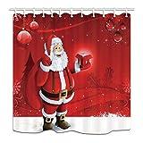 GoHEBE Cortina baño navideña con diseño Papá Noel con motivos navideños para Navidad tela poliéster impermeable cortina ducha para baño 71x71 cm ganchos para cortinas ducha incluidos.