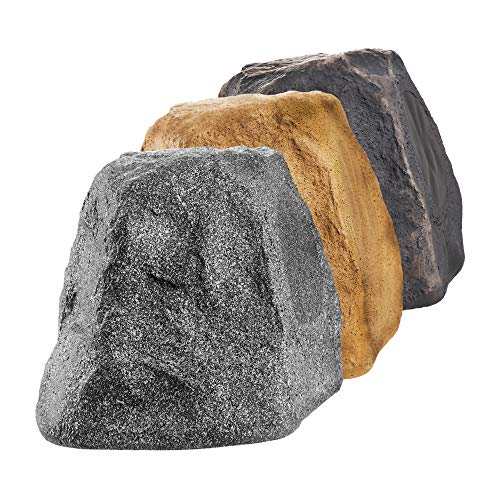 "OSD Audio 5.25"" Outdoor Rock Speaker Durable Weather-Resistant Design, Pair - Granite Grey RX550"