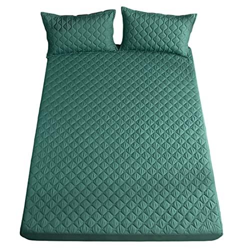 YUDIZWS Protector De Colchón Mash Cubrecolchón Impermeable Funda De Colchón Ajustable Fabricado con Algodón Biorgánico Transpirable (Color : Green, Size : 180x200+35cm)