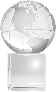 Amlong Crystal World Globe (2.2 inch Diameter) On Crystal Display Stand Base - 3.75 inches Tall